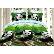 3D Panda Design microfiber edredon conjunto e cama folha bebê conjunto de cama