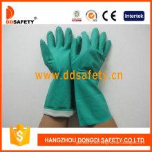 Guante de la industria de nitrilo verde (DHL445)