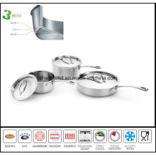 Cookware 3ply Body Induction Saucepan