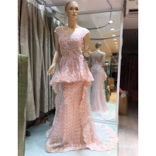 2017 Pink Arabian Flouncing Exquisite Perlen Meerjungfrau Abendkleider