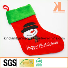 Quality Embroidery/Applique Velvet Happy Christmas Snowman Style Stocking for Decoration