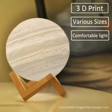 16 Colors LED Night Light 3D Printing Moon Night Lamp Rechargeable Color Change Touch Moon Lamp Kids Gift For Home Decoration