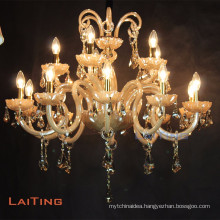 Unique design crystal drop lighting ceramic candle chandelier