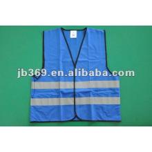 High visibility blue reflective vest