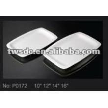 Hotel tableware supplier white porcelain big rectangle platter plate (No.P0172)