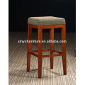 Round wooden black vinyl bar ottoman stool XYH1014