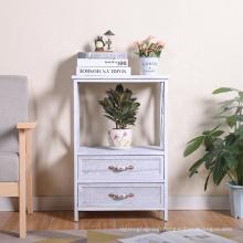 2 drawers wooden storage side cabinet for living room furniture