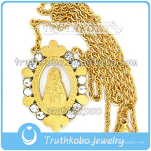 Chaîne à maillons en or religieuse à la mode avec la Vierge Marie en gros Collier en acier inoxydable Christ 316