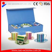 Venta al por mayor delicada taza de té de porcelana blanca y sostenedor de platillo