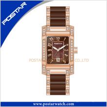 Relógio suíço elegante popular para senhoras com banda de cerâmica