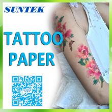 Papel temporário seguro das etiquetas da tatuagem da corrediça de água do Inkjet / laser da pele