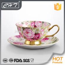 Porzellan modernen Goldrand personalisierte Bone Porzellan Kaffeetasse und Untertasse