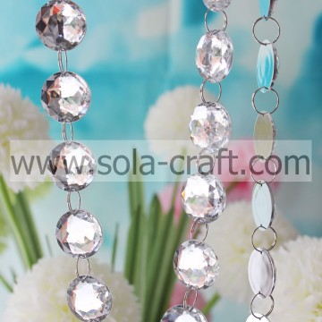 Brilliant Acrylic Crystal Bead Garland Diamond Faceted Strand Wedding Decoration Curtain Chains Iridescence