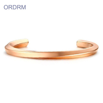 Stainless Steel Bergaya Rose Gold Cuff Bangle Terbuka