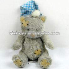 Mini oso de peluche gris encantador del sueño del 100% con el casquillo de Santa