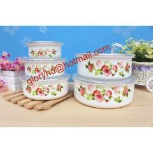Fashional esmalte mistura tigela de armazenamento com tampa PP