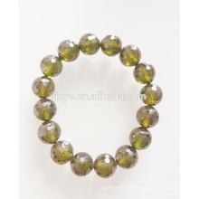 Bracelet en perles de zircon vert 10 mm