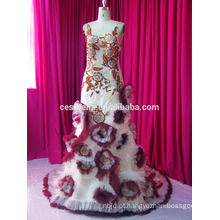 Real Sample New Fashion Vintage Beading Lace Full Sleeves Vestido de casamento muçulmano