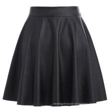 Kate Kasin Women's Basic Casual Synthetic Leather Flared A-Line Mini Skirt KK000519-1