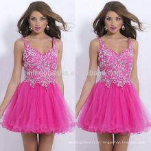 2014 de alta qualidade rosa A linha de Vestidos Homecoming Spaghetti Straps Tulle Feito com forte acento de cristal Short Prom Gown NB0462