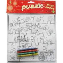 cuadrícula que me colorea el rompecabezas de papel de Navidad festivel