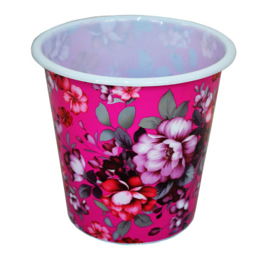 Plastic Creative Flower Printed Dust Bin (B06-032)