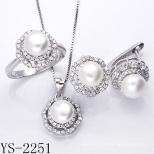 Pearl Jewelry 925 Sterling Silver Jewelry Set with CZ.
