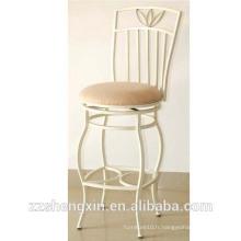Tabouret de bar en métal abattu, chaise de dossier avec coussin