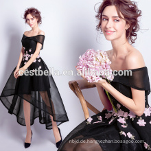 Schwarze Bridemaid Kleider Chiffon kurze vorne lange zurück Hochzeitsparty Kleider schwarz bedruckt Blume