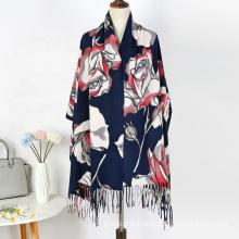 Hot Sale Muslim Women Luxury Hijab Tudung Lady Winter Cashmere Feeling Printed Tassel Shawls Scarves