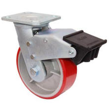 Swivel PU on Cast Iron Caster with Dual Brake (Red)