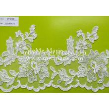 Elfenbein gestrickte Spitze-Stickerei-Spitze-Gewebe-Blumen-Ordnung CTC155 für Schaufel-Ansatz u. Hochzeits-Kleid