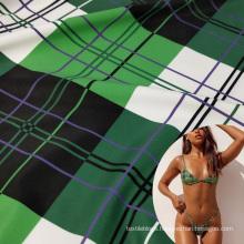 4 way stretch gingham check design elastane printed polyester fabric for bikini