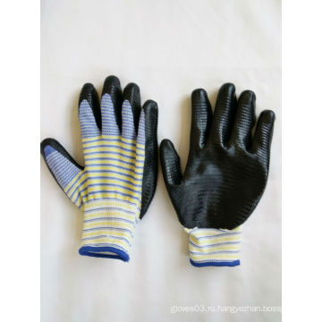 13G полиэфирные оболочки нитрила покрытием перчатки безопасности работы (N6014)