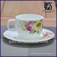 Porcelain factory bone china coffee cup & saucer with flower design