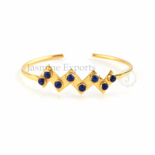 Lapis Lazuli Gemstone Gold Plated Sterling Silver Bangles For Wholesale Supply