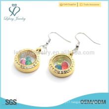Fashion jewelry gold crystal floating earrings, lovely round glass women earrings