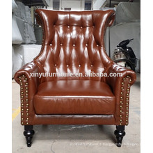 2015 brown real leather lounge sofa chair XYN573