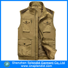 China Wholesale Mens Polar Fleece Winter Brown Denim Vest
