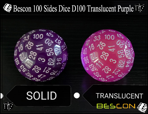 Bescon 100 Sides Dice D100 Translucent Purple-4