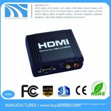 Convertisseur VGA TO HDMI boîtier en métal noir1080P Convertisseur VGA vers HDMI Convertisseur VGA + R / L Audio vers HDMI Convertisseur