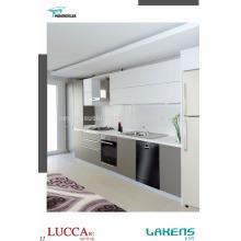 Gabinete de cozinha de preço barato estilo moderno com alça de alumínio integrada e porta de pvc de toque suave
