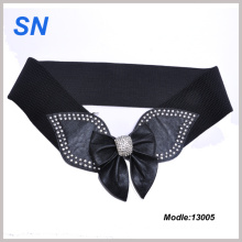 Large Butterfly Shape Buckle Stretch Patent PU Stretch Ladies Belt