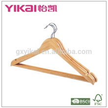 Bulk curved bamboo stick shirt hangers with round bar and notches