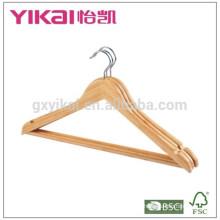 Bulk curvo bambu stick camisa cabides com barra redonda e entalhes