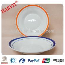 Hotel & Restaurant Round Ceramic Plates Color Lines Rim / Soup Plates / Wholesale Tableware Dinnerware Cheap Dishes Plates