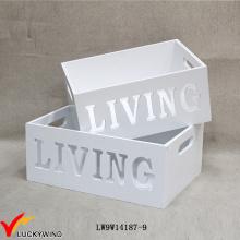 Античные прямоугольные декоративные белые деревянные ящики для плантаторов