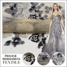 Tela de vestido al por mayor transparente bordado de lujo barato del patrón de flores