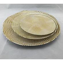 Juego de chapado de 3 cargador de vidrio dorado