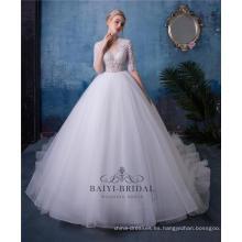 Vestido de novia con cuentas de manga corta con cuello en V vestido de novia nupcial HA601